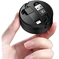 巻き取り ケーブル 急速充電 ライトニング MicroUSB 1.3m 収納ケース付き (1.3m, 黒)