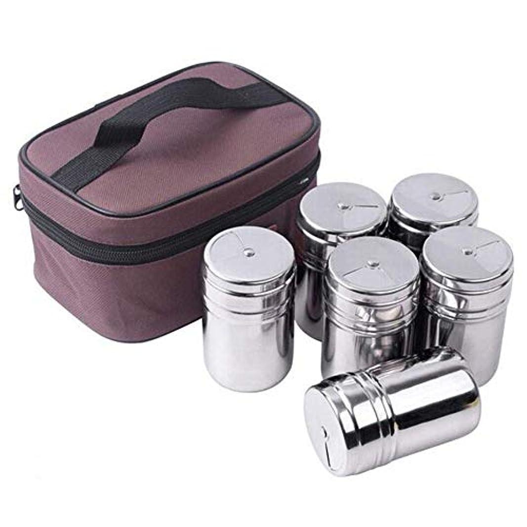 困惑持つ壁調味料入れセットステンレス 収納バッグ付き 携帯便利 6点