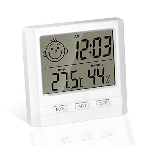 TUOSGデジタル温湿度計 LCD大画面 時計 時間表示 置き/掛け 【顔文字でお知らせ】肌の潤い インフル対策用 健康管理 熱中症予防 (快適レベル表示)