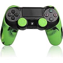 TurnRaise PS4コントローラー用 スキンケース シリコン素材 プレイステーション4用 ちりばめ 保護カバー スティックカバー 耐動擊 高品質 (グリーン)