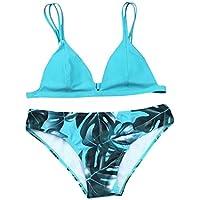 HOPEA Women Bikini Set Sexy Leaves Printing Adjustable Spaghetti Strap Criss Cross Swimsuit Push-up Swimwear