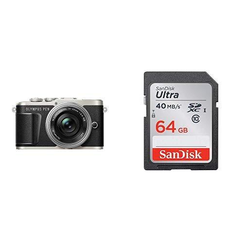 OLYMPUS ミラーレス一眼 PEN E-PL9 レンズキット ブラック + SanDisk エコパッケージ サンディスク ウルトラ SDXCカード 64GB Class10 UHS-I 読取り最大40MB/秒 SDSDUNH-064G-GHENN 10年保証