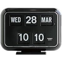 TWEMCO トゥエンコ デジタルカレンダークロック パタパタ時計 置き・掛け兼用qd-35Black