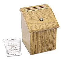 Safco 木製提案ボックス ラッチ蓋鍵ロック 7 3/4 x 7 1/2 x 9 3/4インチ オーク
