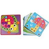 FLAMEER 子供 想像力 ボタンアート パズル 早期学習 図形 形合わせ おもちゃ マルチカラー