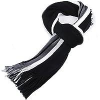 Bullidea Men's Scarves Winter Warm Knitted Scarf Tassel Ends Striped Soft Scarf Black