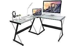 activiva L-Shaped Corner Office Computer Desk for Home Office, PC Desktop Gaming & Study Desk in Tempered Glass & Steel
