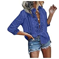 Tootess 女性かぎ針編みレースカジュアルは、3 / 4スリーブ花シャツ Dark Blue XL