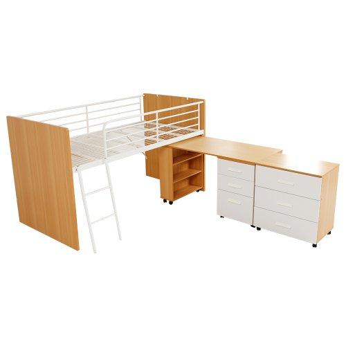 ベッド システムベッド ロフトベッド デスク チェスト 引き出し 子供 木製 ハシゴ ナチュラル ホワイト