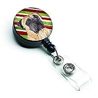 Caroline's Treasures Mastiff Candy Cane Holiday Christmas Retractable Badge Reel Multicolor (SC9345BR) [並行輸入品]