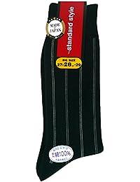 (ワールドリズム)WORLD RHYTHM メンズ 表糸 綿100% ストライプ 柄 クルー ソックス (日本製 紳士 靴下)