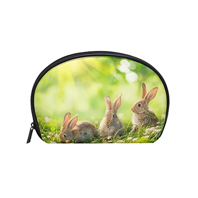 政治的原油緊急ALAZA うさぎ 半月 化粧品 メイク トイレタリーバッグ ポーチ 旅行ハンディ財布オーガナイザーバッグ