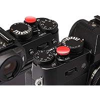CamRebel 2個入り ソフトレリーズ アルミ合金製 シャッターレリーズボタン 1年間保障 FUJIFILM X10,20,30,100T Leica M1 M2 M3 M6 Canon F-1 NIKON F2 各社対応 凹/凸 (2個セット, 赤)