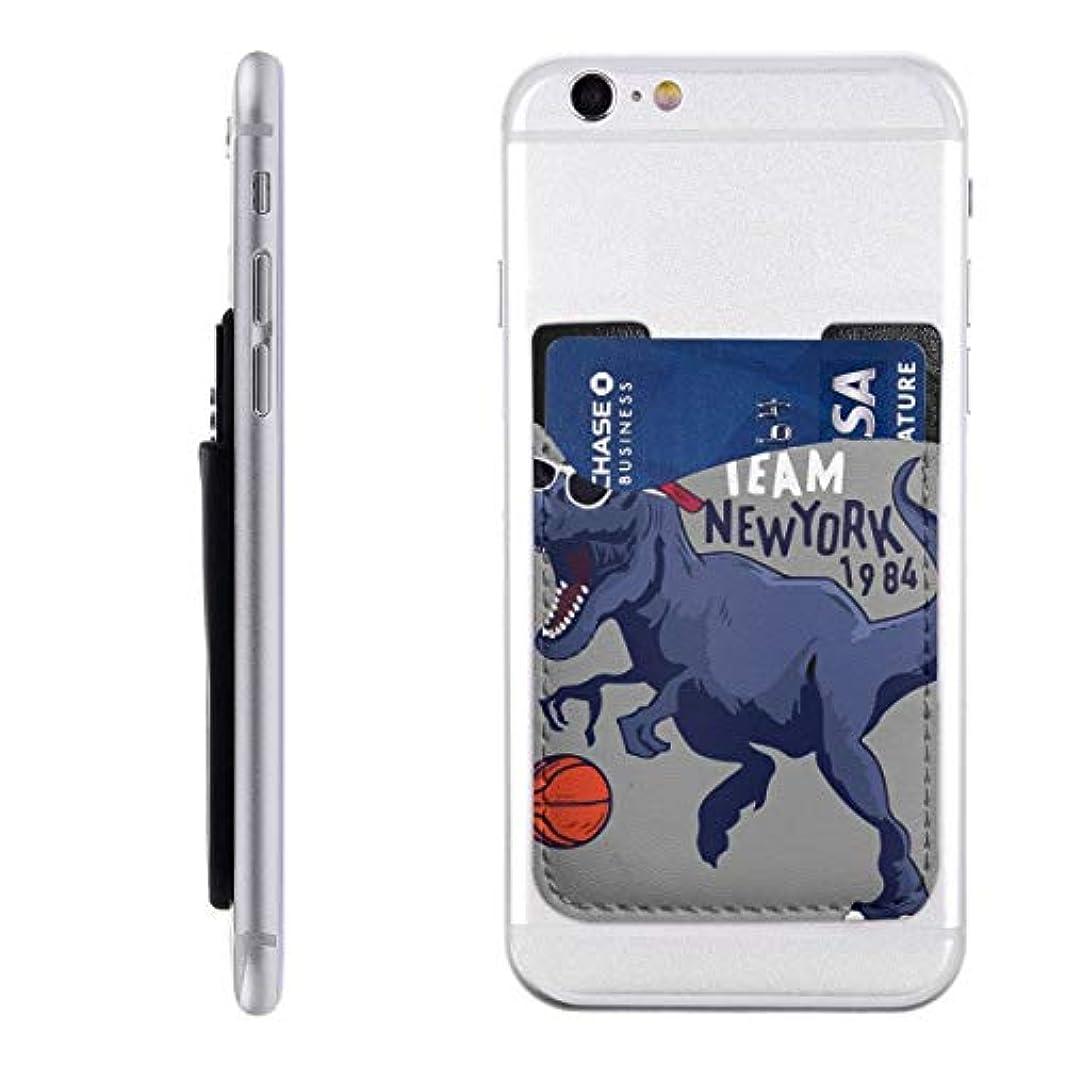地震誇りミリメートル恐竜 バスケットボール 恐竜柄  スマートフォン ポケット 背面 薄型 便利 背面カードホルダー 名刺入れ スマホケース カード収納 全機種対応