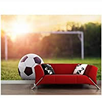 カスタムサッカーの壁紙、リビングルームバーのKTV背景のサッカーフレスコの草の下の夕日-300 cm(W)x 200 cm(H)(9'8 '' x 6'5 '')ft