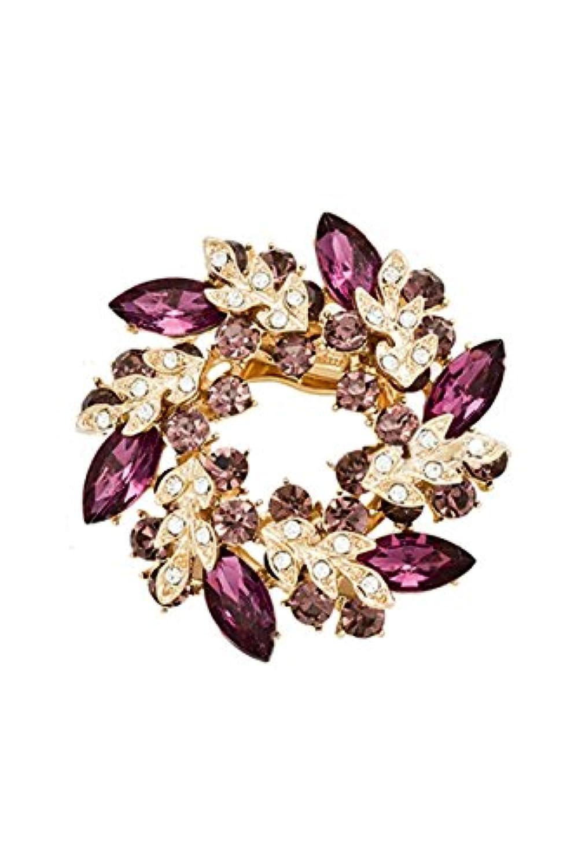 SODIAL(R) 女性のファッション ラインストーン水晶合金 花束ブローチピン(紫)