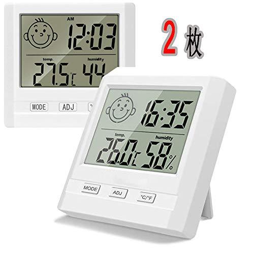 AOOTK (2個パック)温度計 湿度計 時間 LCD大画面 壁掛け&卓上スタンド兼用 肌の潤い インフル対策用 健康管理 熱中症予防 (ホワイト)