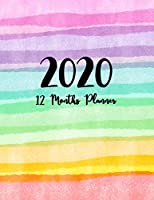 12 Months Planner 2020: Weekly And Monthly Calendar + Organizer | Watercolor Stripes Cover, Daily, Weekly, And Monthly Planner  | To Do List Academic Schedule Agenda Logbook Or Student | January 2020 through December 2020