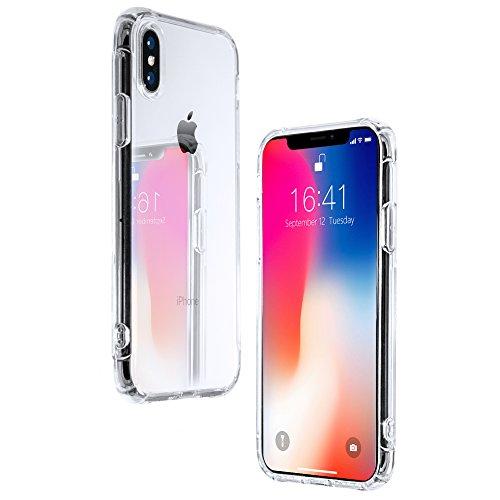 21SPEC iphone x ケース クリア ハード シリコン オシャレ tpu ソフト ストラップホール付き 衝撃 カバー 透明 tpu素材 アイフォンxケース アイホンxケース 耐衝撃 クリアケース 音声が前面から流れる (iPhone X, クリア)