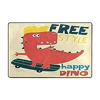 ラグ ラグマット 恐竜 スケートボード 赤い カーペット 洗える 滑り止め付き 防ダニ 抗菌防臭 夏 冷房対策 ふわふわ 床暖房対応 センターラグ フランネル かわいい 絨毯 長方形 北欧 おしゃれ 90x60cm 180x120cm BOLACO