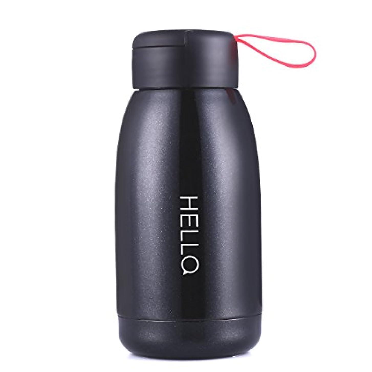 騒々しいマンモス付添人Oneisall sb62108 450 mlポータブル魔法瓶旅行マグキュートデザイン真空断熱ステンレス鋼魔法瓶水ボトル、Miniサイズコーヒー魔法瓶真空フラスコ 18*8.2CM ブラック
