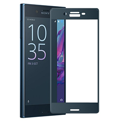 AMOVO Sony Xperia XZ全面ガラスフィルム 0.26mm 9H ブルー