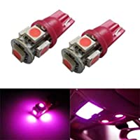 12V車用 SMD5連 LED T10 ウェッジ バルブ 5SMD ピンク パープル 桃 紫 5050 SMD 1個  5連 5 SMD 12V T16 相当5連 超高輝度 12V車用