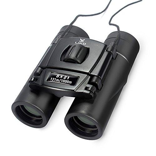 Liko 双眼鏡 8x21 ミニ双眼鏡 8倍 21口径 コンパクト双眼鏡 高画質 コンサート 観劇 歌舞伎鑑賞 オペラグラス スポーツ サッカー 観戦 望遠鏡 バードウォッチング 旅行 登山 アウトドアなどに適用 超小型 軽量 携帯便利 BAK4プリズム ストラップ 収納ケース付き