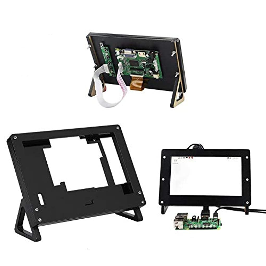 教育する突進浴ASHATA 5インチ ディスプレイ アクリル コンピューターケース Raspberry Pi用 ブラック コンピューター保護ケース PC DIY ツール 交換パーツ