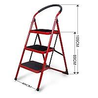 NEVY- 折りたたみ梯子 厚肉チューブ 広がり 滑り止め ペダル 世帯 はしご 屋内 階段 小さな踏み台 3サイズあり (色 : Red, サイズ さいず : 3-step)