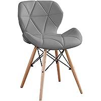 Probasto ダイニングチェア 椅子 PUレザー座面 木脚 レーダーチェア イームズチェア 蝶々チェア おしゃれ 組…