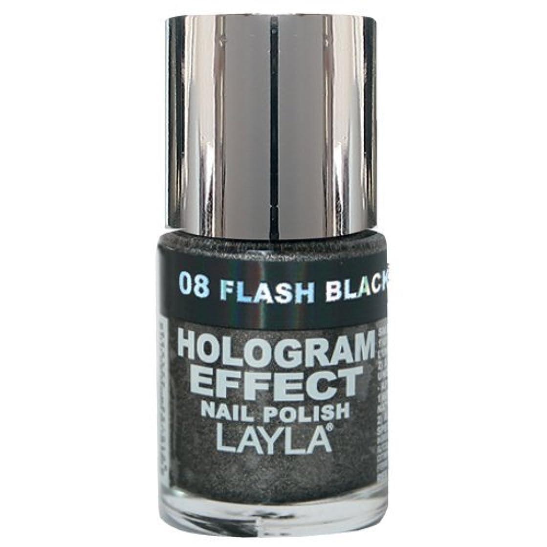 操縦する鎮痛剤隣接するLayla Cosmetics Hologram Effect Nail Polish Flash Black 10ml