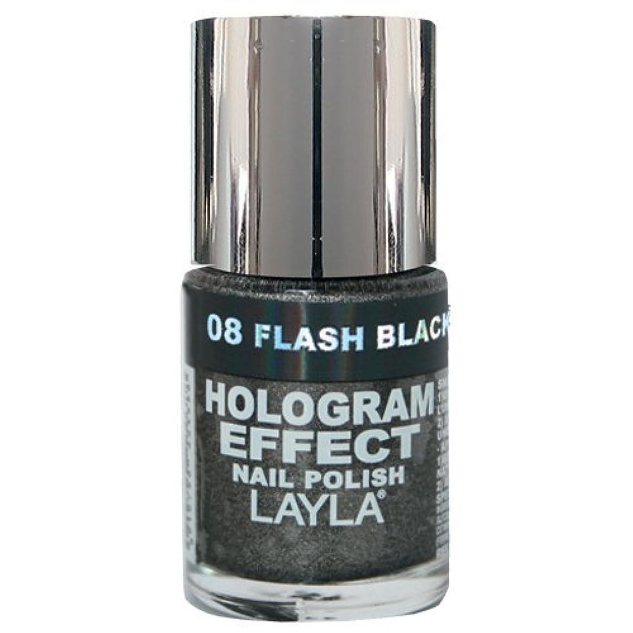 無声で服ボトルネックLayla Cosmetics Hologram Effect Nail Polish Flash Black 10ml