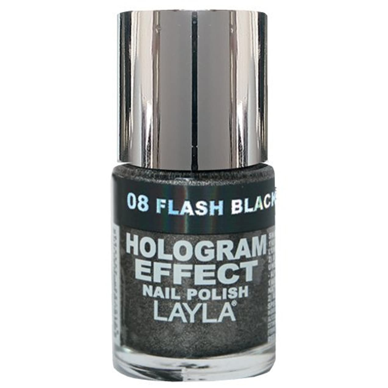 もっともらしい爵滅多Layla Cosmetics Hologram Effect Nail Polish Flash Black 10ml