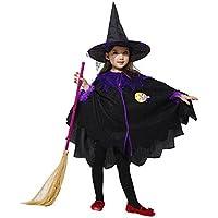 Karchi  幼児 ハロウィーン 男の子 女の子  キッズ ベイビー ガールズ ハロウィーン 衣装 コスチュームドレス パーティー クローク+帽子 服 (160, 黒)
