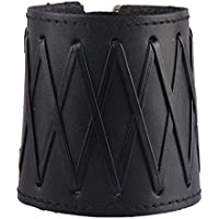 Lovoski PU Leather Gauntlet Wristband Medieval Bracers Wrist Band Wide Bracer Arm Cuff Bangle for Women Men