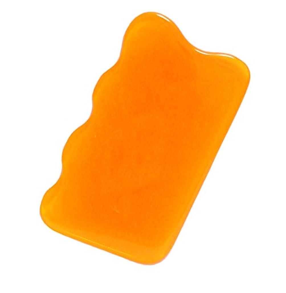 犠牲宣言田舎者天然蜜蝋使用! 雲形かっさプレート (オレンジ色)