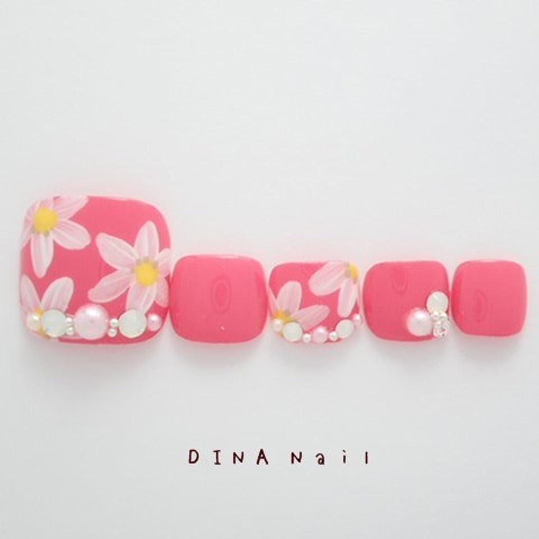 オーケストラきゅうり好きであるDINAネイル チェリーピンクベース花柄 ぺディキュアS(25678番) ネイルチップ