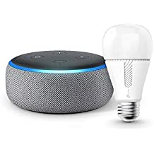 Echo Dot 第3世代 - スマートスピーカー with Alexa、ヘザーグレー + TP-Link Kasa スマート LED ランプ 調光タイプ E26 KL110 800lm 電球色