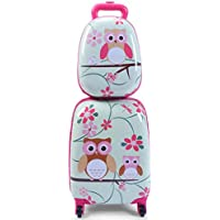 Kids Luggage Set, 12'' Backpack 16'' Suitcase Children Boys Girls Travel School Trolley Case (Green) zhaoyun (Color : Green)