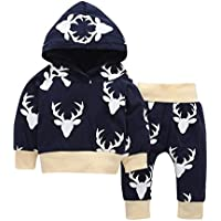 PanDaDa 2 PCs Newborn Baby Girls Clothes Deer Print Hooded Tops Sweatsuit + Pants Outfit Sets