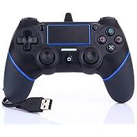 ps4 コントローラー 砂のような感触の表面 ps4ゲームパッド ゲームコントローラ Blue 有線 DUALSHOCK 4 USB 接続 (PS4 PS3 PC 振動機能 対応) バージョン5.55対応