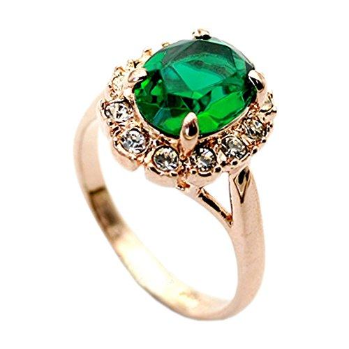 (ミネトメ)Minetom リンク 指輪 18Kゴールドメッキ 高品質 エメラルド ジュエリー 宝石 ダイヤモンド 優雅 ブリンブリン ( グリーン 10 )