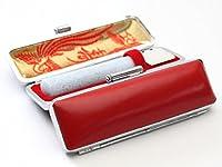「ミルキィ印鑑ブルー15.0mm×60mm牛皮ケース赤」 認印・銀行印サイズ 縦彫り 吉相体