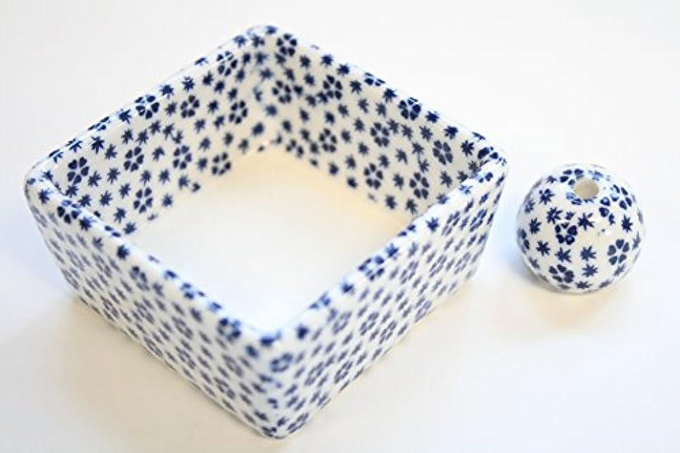 キノコリールインフルエンザ和モダン 桜小紋(青) お香立て 陶器 角鉢 製造直売品