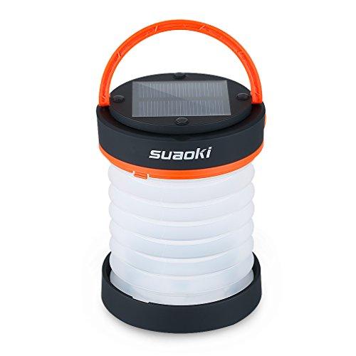 suaoki 3WAY高輝度LEDランタン ソーラーライト 懐中電灯 電池不要 USB充電 アウトドアや災害時の備えに オレンジ …