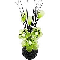 Flourish 32cm 813花瓶with Miniナイロン花、ブラック/ライムグリーンby Flourish