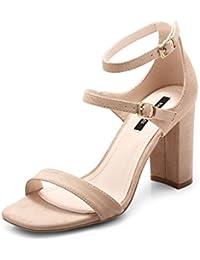 夏の女性の靴のサンダル厚いかかとハイヒールの靴ストラップシューズスクエアヘッド (色 : ヌード色, サイズ さいず : 37)