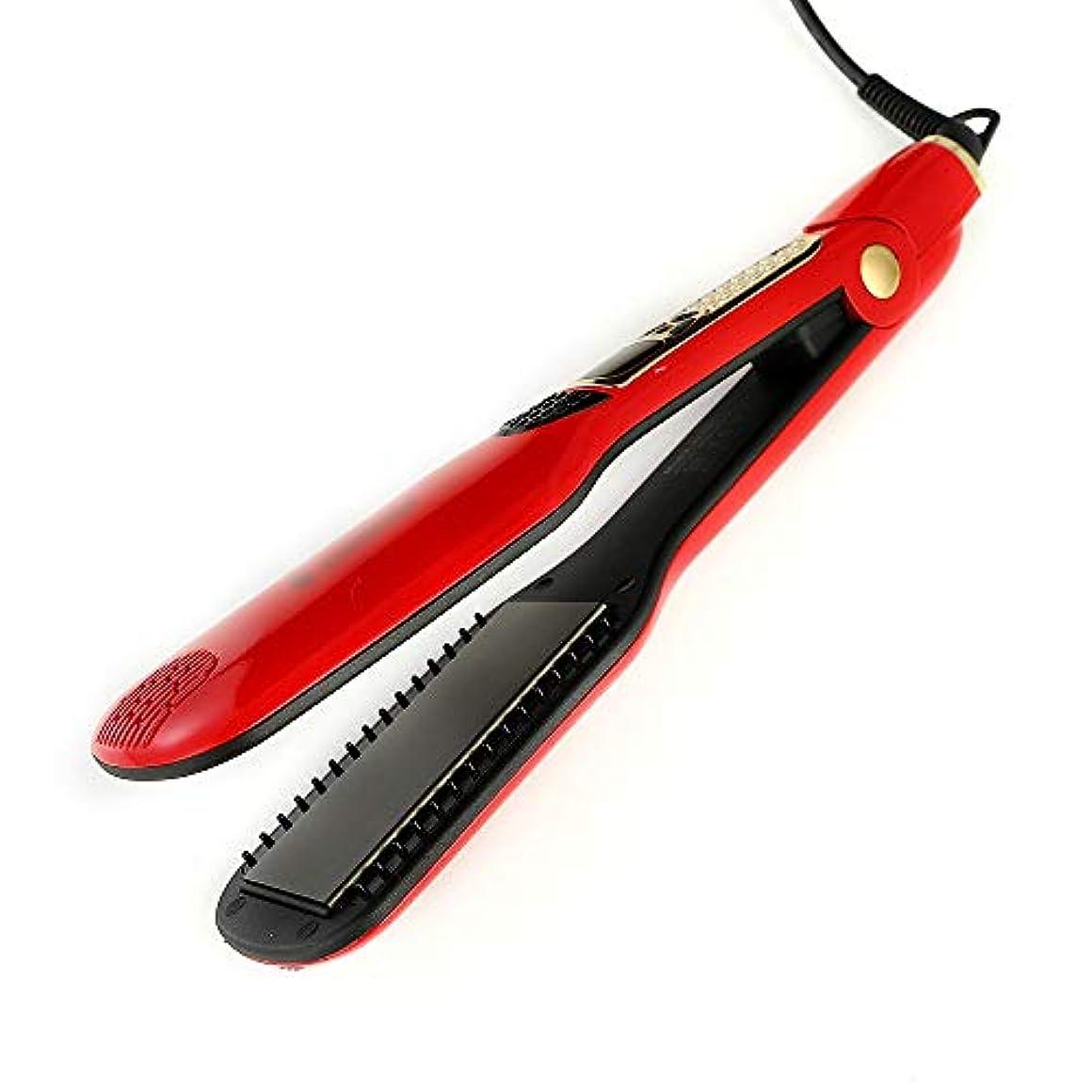 見物人メナジェリーコレクション巻き毛&ストレートヘア、2ストレートヘアアイロン2、セラミックヘアカーラー温度制御 モデリングツール (色 : レッド)