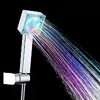 どのように@浴室用機器:高品質現代AグレードABSクロム仕上げ7色LEDハンドシャワー - シルバー